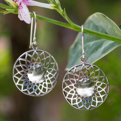 Sterling silver dangle earrings, 'Lotus Blossom' - Hand Made Floral Sterling Silver Dangle Earrings