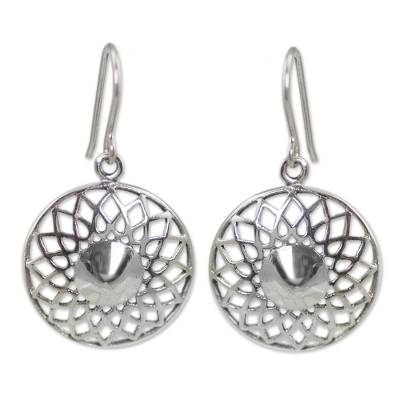 Hand Made Floral Sterling Silver Dangle Earrings