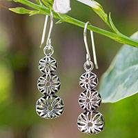 Sterling silver flower earrings, 'Flower Tower' - Sterling silver flower earrings