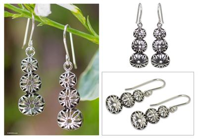Sterling silver flower earrings, 'Flower Tower' - Sterling silver flower earrings