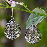 Sterling silver dangle earrings, 'Nature's Inspiration' - Sterling silver dangle earrings