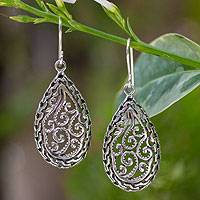 Sterling silver dangle earrings, 'Forest Dewdrop' - Sterling silver dangle earrings