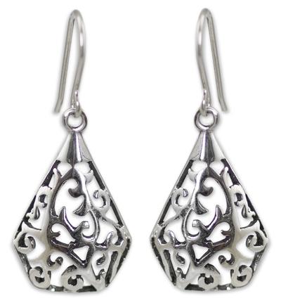 Sterling silver dangle earrings, 'Rain Forest Song' - Sterling Silver Dangle Earrings from Thailand