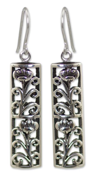 Sterling silver dangle earrings, 'Spring Blossoms' - Fair Trade Floral Sterling Silver Dangle Earrings