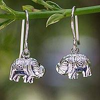 Sterling silver dangle earrings, 'Elegant Elephant' - Fair Trade Elephant Dangle Earrings