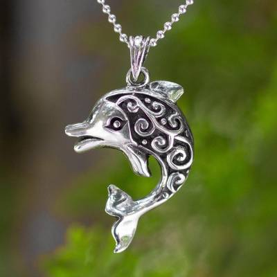 Sterling silver pendant necklace, 'Pretty Dolphin' - Artisan Crafted Silver Pendant Necklace