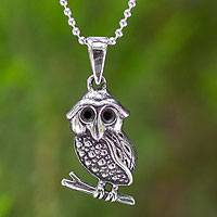 Sterling silver pendant necklace, 'Little Thai Owl'