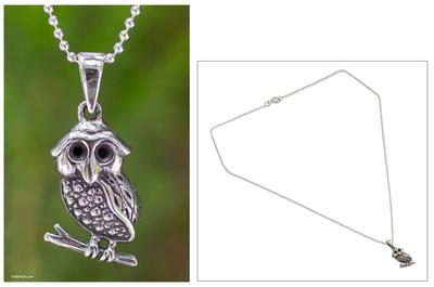 Sterling silver pendant necklace, 'Little Thai Owl' - Sterling Silver Pendant Necklace