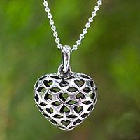 Sterling silver pendant necklace, 'Heart of the Forest'