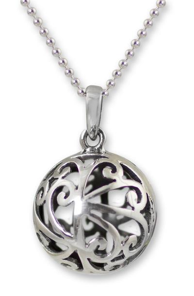 Unique Modern Sterling Silver Pendant Necklace