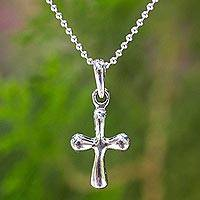 Sterling silver pendant necklace, 'Modern Cross'