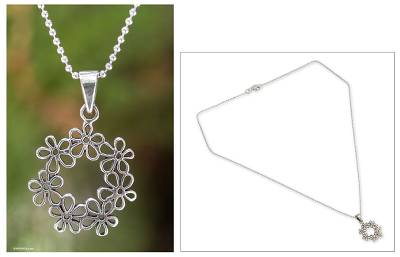 Sterling silver flower necklace, 'Floral Tiara' - Handcrafted Floral Sterling Silver Pendant Necklace