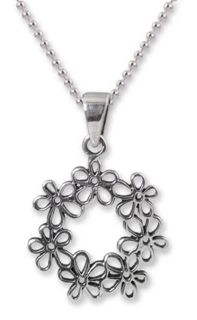Handcrafted Floral Sterling Silver Pendant Necklace