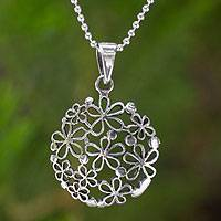 Sterling silver flower necklace, 'Hydrangea'