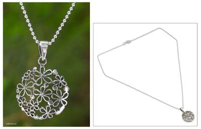 Sterling silver flower necklace, 'Hydrangea' - Floral Sterling Silver Pendant Necklace