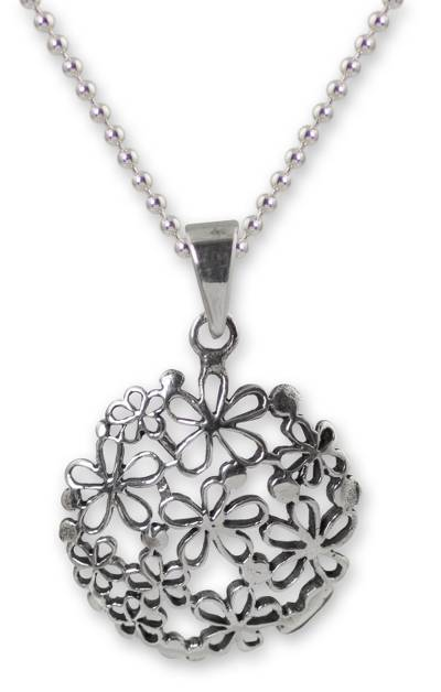 Floral Sterling Silver Pendant Necklace