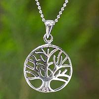 Sterling silver pendant necklace, 'Living Forest' - Thai Sterling Silver Tree Pendant Necklace