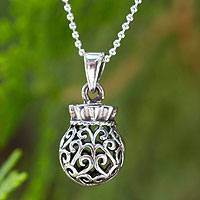 Sterling silver pendant necklace, 'Nature's Treasure' - Sterling silver pendant necklace