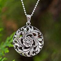 Sterling silver pendant necklace, 'Thai Bouquet' - Sterling silver pendant necklace
