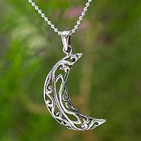 Sterling silver pendant necklace, 'Filigree Moon'