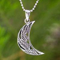 Sterling silver pendant necklace, 'Rain Forest Moon'