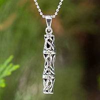 Sterling silver pendant necklace, 'Bamboo Filigree' - Sterling silver pendant necklace