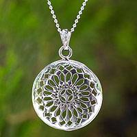 Sterling silver pendant necklace, 'Starry Sky' - Handcrafted Sterling Silver Medallion Necklace