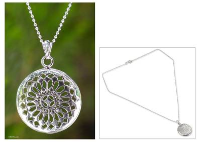 Sterling silver pendant necklace, 'Starry Sky' - Thai Sterling Silver Pendant Necklace