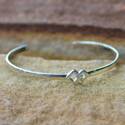 Sterling silver cuff bracelet, 'Hold My Hand' - Modern Sterling Silver Cuff Bracelet