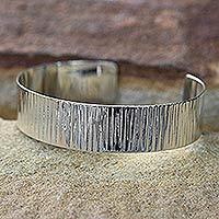 Sterling silver cuff bracelet, 'Rain'
