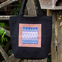 Cotton tote handbag, 'Chiang Mai Hyacinth in Black' - Cotton tote handbag