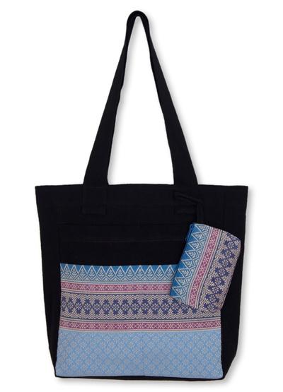 Cotton tote handbag and change purse