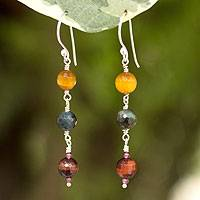 Tiger's eye and garnet dangle earrings, 'Thai Fascination' - Tiger's eye and garnet dangle earrings