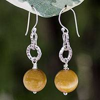 Tiger's eye dangle earrings, 'Thai Honey' - Tiger's eye dangle earrings