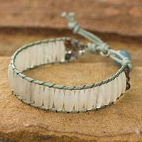 Quartz wristband bracelet, 'Crystalline Earth' - Quartz Beaded Bracelet from Thailand