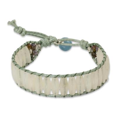 Quartz wristband bracelet, 'Crystalline Earth' - Handcrafted White Quartz Wristband Bracelet
