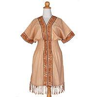 Cotton dress, 'Thai Tribal in Tan'
