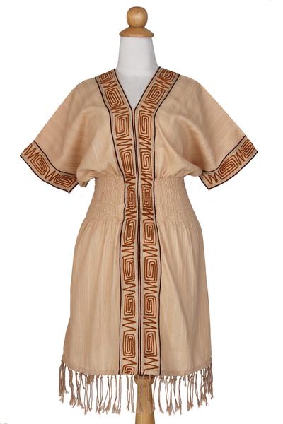 Cotton dress, 'Thai Tribal in Tan' - Cotton dress