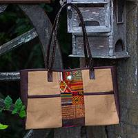 Leather accent cotton shoulder bag, 'Tribal Tan' - Leather accent cotton shoulder bag