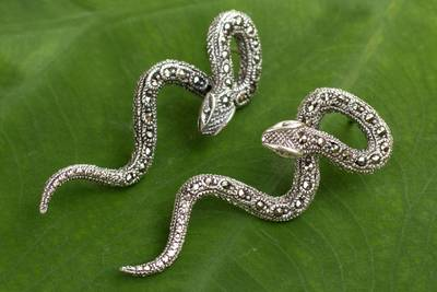 Marcasite post earrings, 'Sinuous Serpents' - Handcrafted Long Marcasite Post Earrings