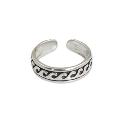 Sterling silver toe ring, 'Beach Beauty' - Modern Sterling Silver Toe Ring