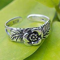 Sterling silver toe ring, 'Chiang Mai Rose'