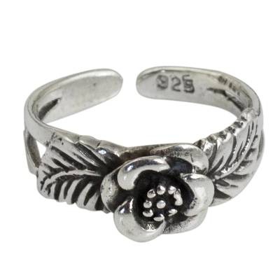 Handcrafted Floral Sterling Silver Toe Ring from Thailand