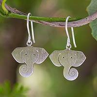 Silver dangle earrings, 'Noble Elephants'