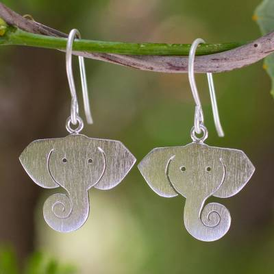 Silver dangle earrings, 'Noble Elephants' - Sterling Silver Dangle Earrings