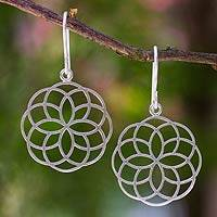 Sterling silver flower earrings, 'Blossoming Kaleidoscope' - Sterling silver flower earrings