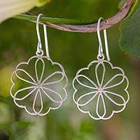 Sterling silver dangle earrings, 'Flower of Love' - Sterling silver dangle earrings