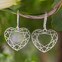Sterling silver heart earrings, 'Web of Love' - Sterling silver heart earrings