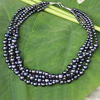 Cultured pearl strand necklace, 'Exotic'