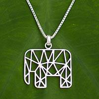 Sterling silver pendant necklace, 'Abstract Elephant' - Sterling silver pendant necklace